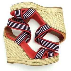 Tory Burch Adonis Espadrille Wedge Sandals sz 8